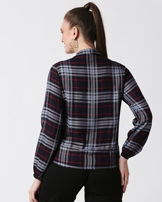 Shop Womens Checks Overlap Shirt Top-Full