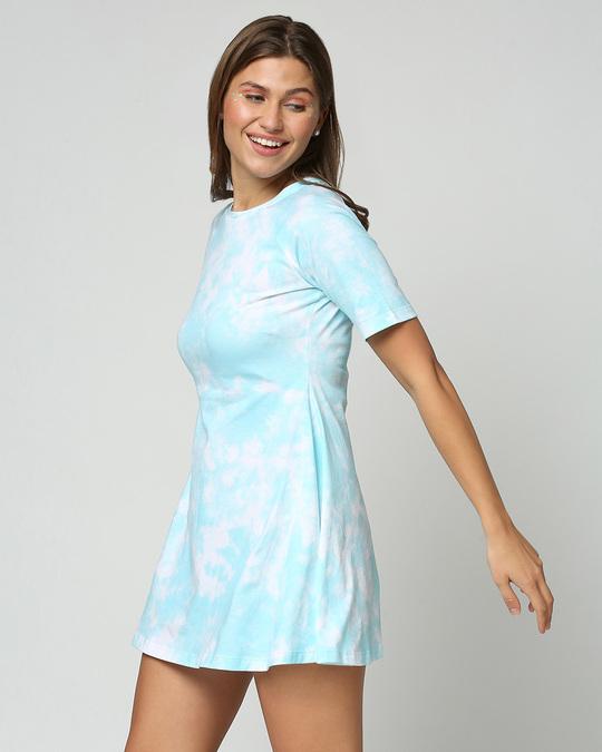 Shop Beach Blue Tie & Dye Print Flared Dress-Design