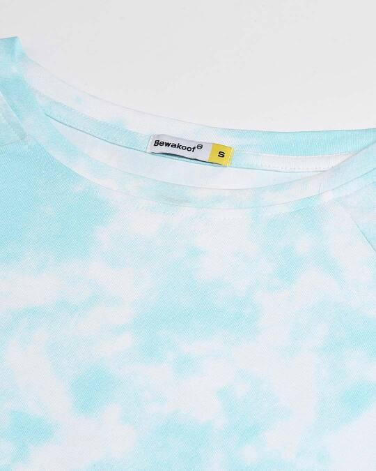 Shop Beach Blue Tie & Dye Print Flared Dress
