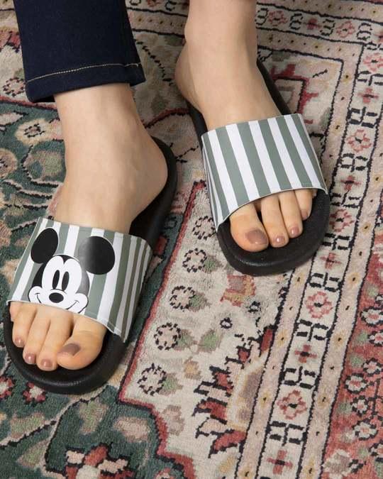 Shop Women Striped Mickey Sliders (DL)