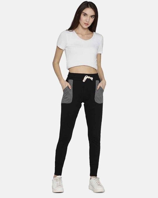 Shop Campus Sutra women's Stylish Black & Grey Joggers-Design