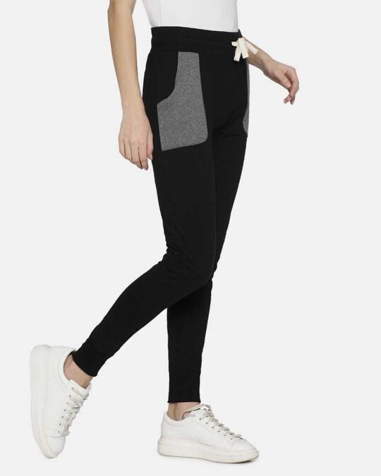 Shop Campus Sutra women's Stylish Black & Grey Joggers-Full