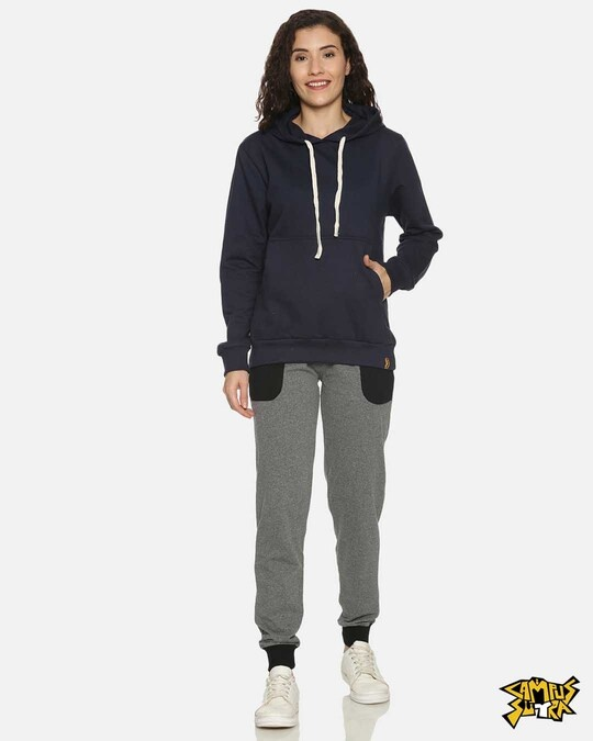 Shop Campus Sutra women's Stylish Charcoal Black Joggers-Front