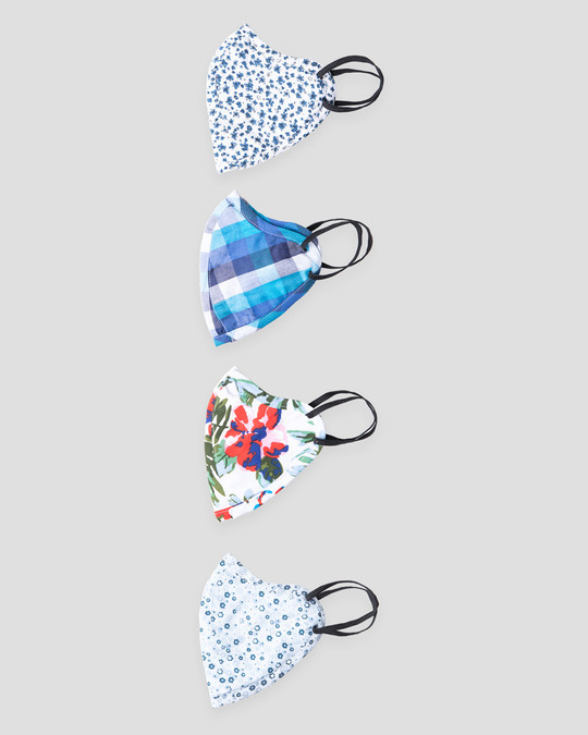 Shop Women Three Panel Mask Combo of 4 (Blooming tales)-Design