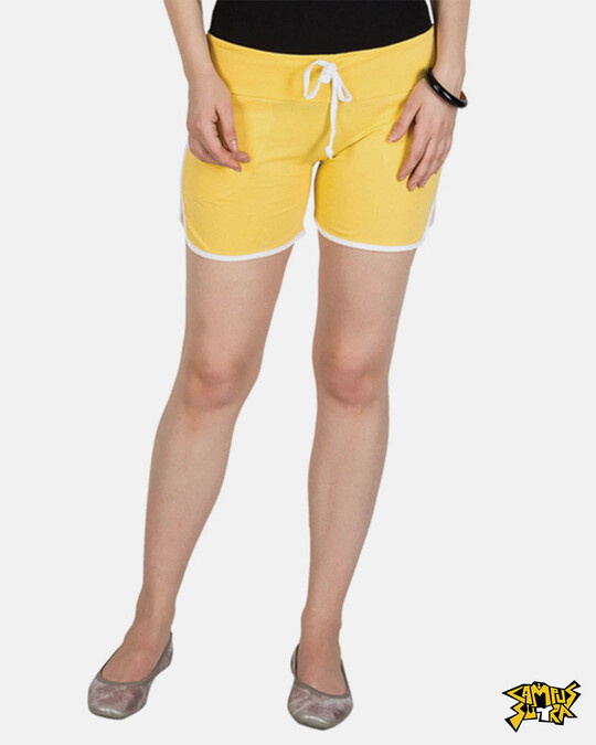 Shop Campus Sutra women's Yellow Shorts-Front