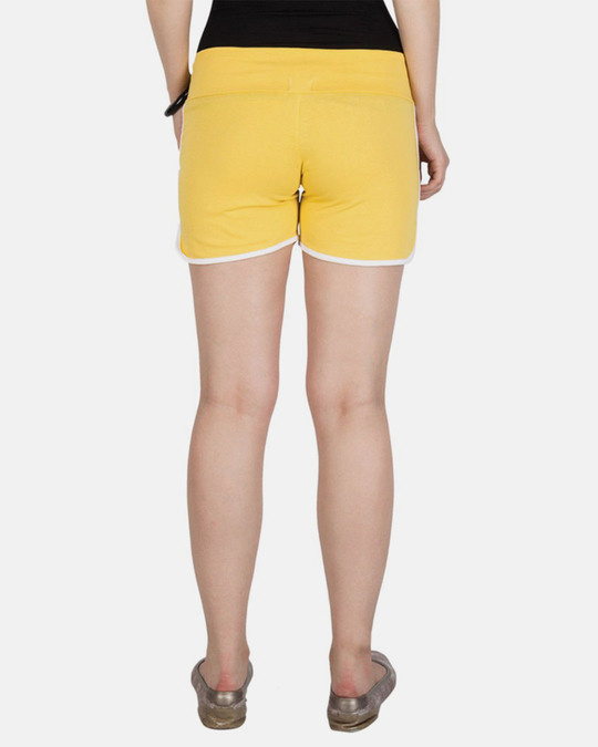 Shop Campus Sutra women's Yellow Shorts-Back