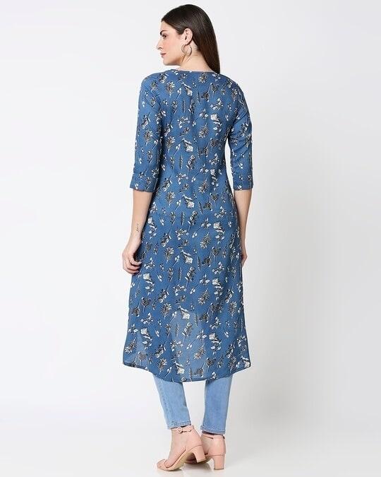 Shop Women's Blue Printed High Low Kurti-Full