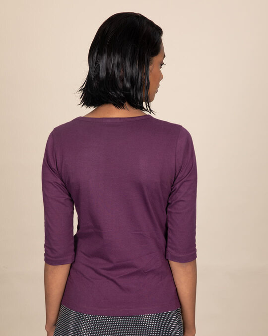Shop Wonder Pose Round Neck 3/4th Sleeve T-Shirt (DCL)-Back
