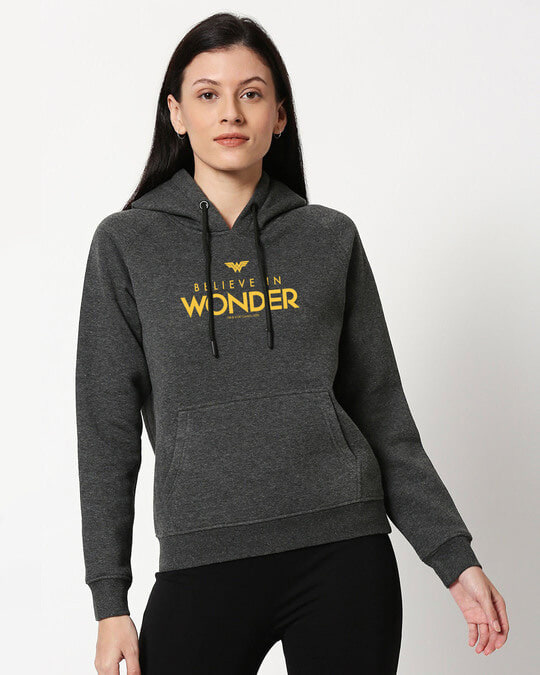Shop Wonder Woman Believe Melange Hoodie Sweatshirt AW 20-Front