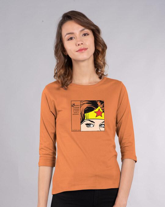 Shop Wonder Woman Comical Round Neck 3/4 Sleeve T-Shirts-Front