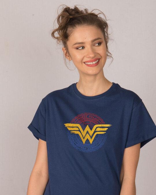 Shop Wonder Woman Foil Logo Boyfriend T-Shirt (DCL)-Front
