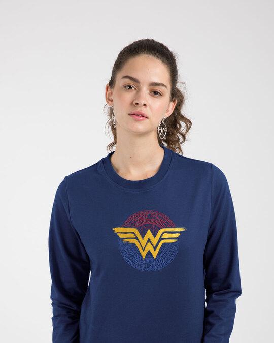 Shop Wonder Woman Foil Logo Fleece Light Sweatshirts (DCL)-Front