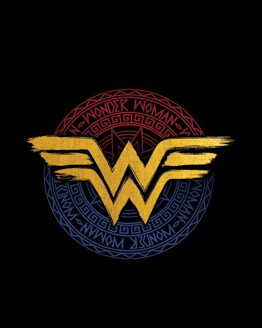 Shop Wonder Woman Foil Logo Half Sleeve T-Shirt (DCL)-Full