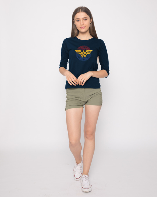 Shop Wonder Woman Foil Logo Round Neck 3/4th Sleeve T-Shirt (DCL)-Full