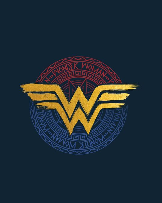 Shop Wonder Woman Foil Logo Round Neck 3/4th Sleeve T-Shirt (DCL)