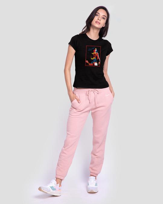 Shop Wonder Woman Frame  Half Sleeve Printed T-Shirt Black (DCL)-Full