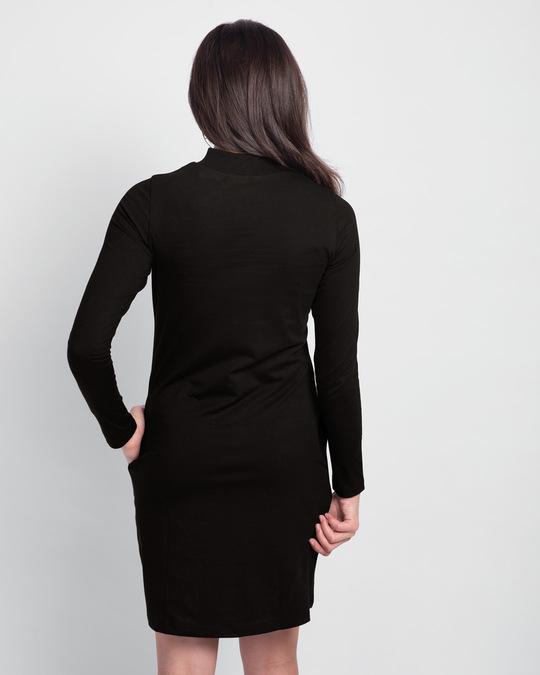 Shop Wonder Woman Frame  High Neck Pocket Dress Black (DCL)-Back
