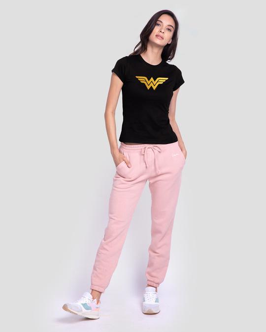 Shop Wonder Woman Gold  Half Sleeve Printed T-Shirt Black (DCL)-Design