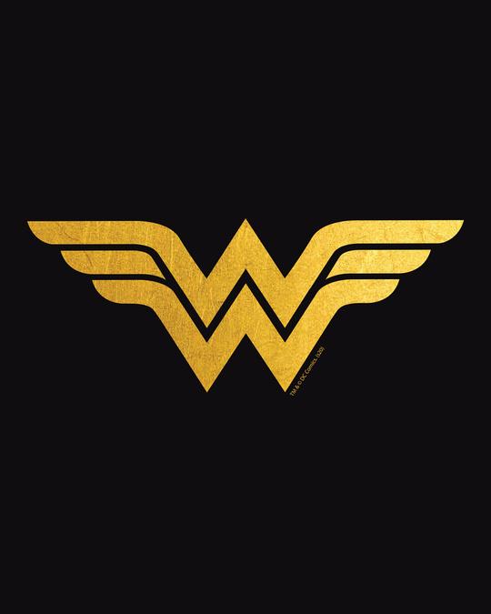 Shop Wonder Woman Gold  Half Sleeve Printed T-Shirt Black (DCL)-Full