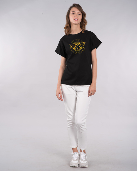 Shop Wonder Woman Gold Plated Logo Boyfriend T-Shirt Black (DCL)-Full