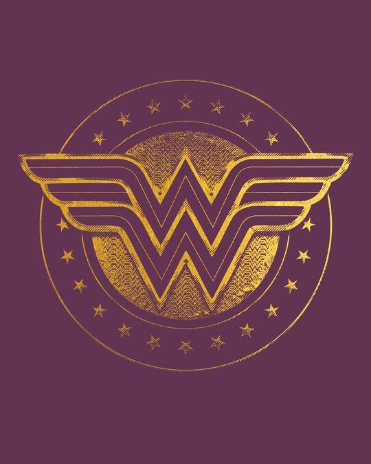 Shop Wonder Woman Gold Plated Logo Cap Sleeve T-Shirt Dress (DCL)-Full