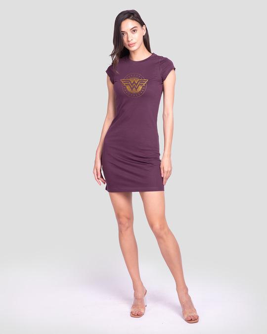 Shop Wonder Woman Gold Plated Logo Cap Sleeve T-Shirt Dress (DCL)-Design
