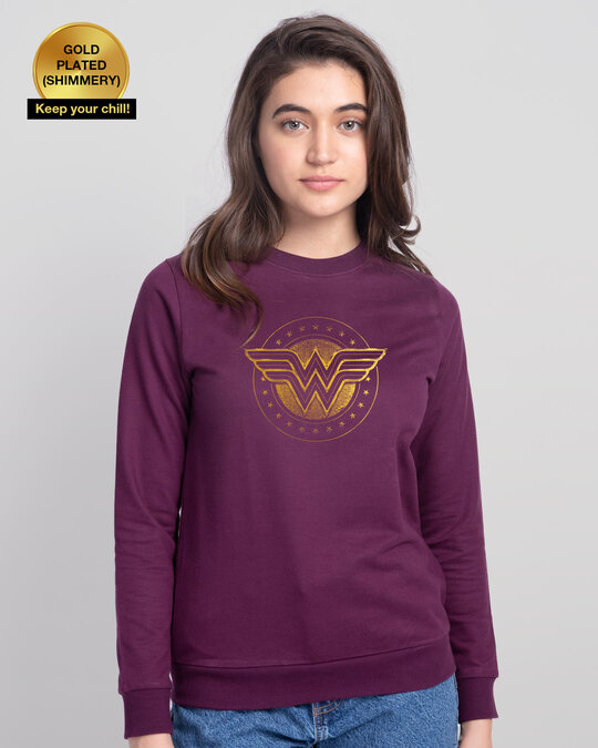 Shop Wonder Woman Gold Plated Logo Fleece Light Sweatshirt (DCL)-Front