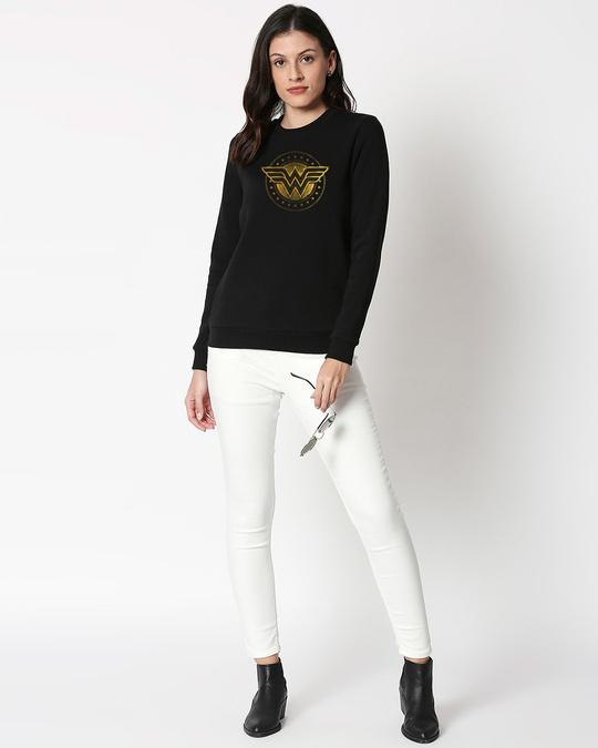 Shop Wonder Woman Gold Plated Logo Fleece Sweater-Design
