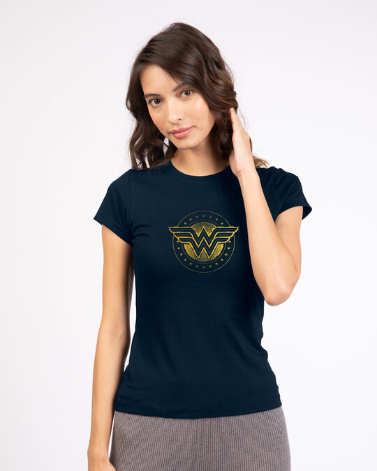 Shop Wonder Woman Gold Plated Logo  Half Sleeve T-Shirts (DCL) Navy Blue-Front