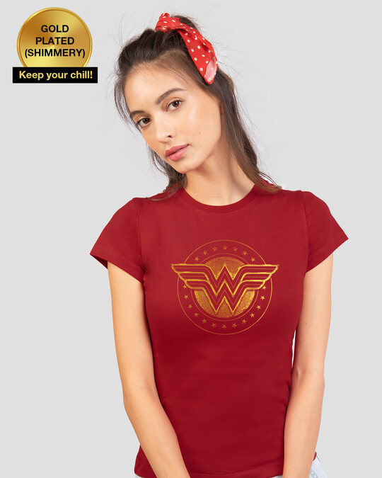Shop Wonder Woman Gold Plated Logo  Half Sleeve T-Shirts (DCL) Bold Red-Front