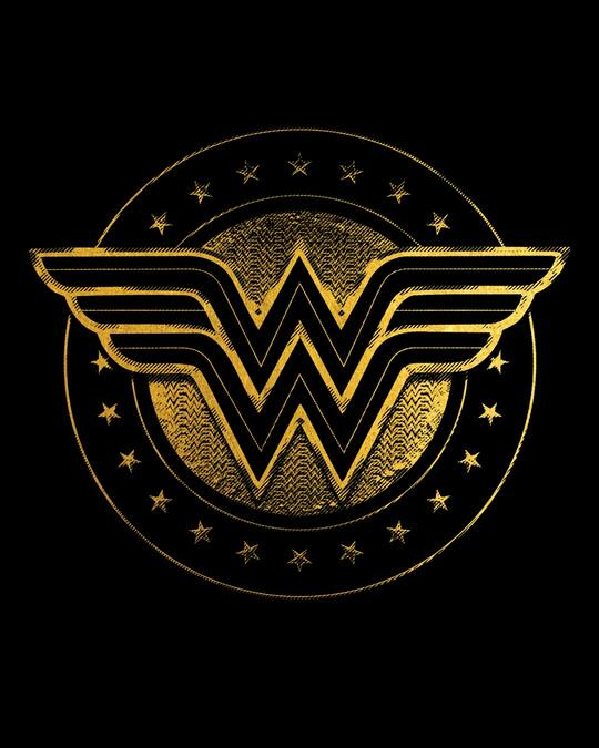 Shop Wonder Woman Gold Plated Logo Scoop Neck Full Sleeve T-Shirt (DCL)-Full