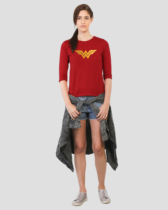 Shop Wonder Woman Gold  Round Neck 3/4 Sleeve T-Shirts Bold Red (DCL)-Full