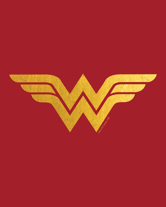 Shop Wonder Woman Gold  Round Neck 3/4 Sleeve T-Shirts Bold Red (DCL)