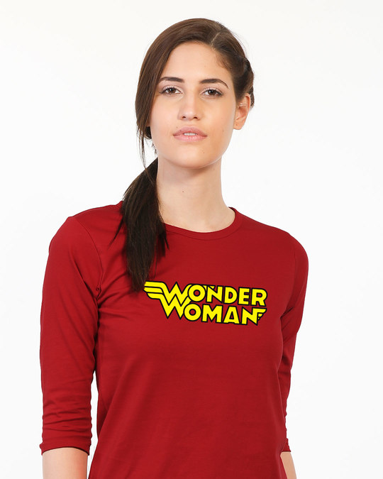 Shop Wonder Woman Main Round Neck 3/4th Sleeve T-Shirt-Front