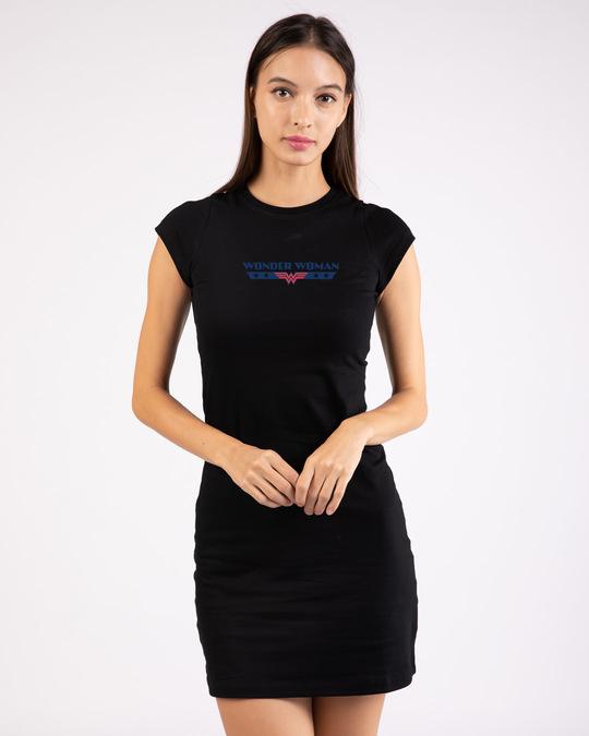 Shop WONDER WOMAN RETRO STRIPE Cap Sleeve Printed T-Shirt Dress Black (DCL)-Front
