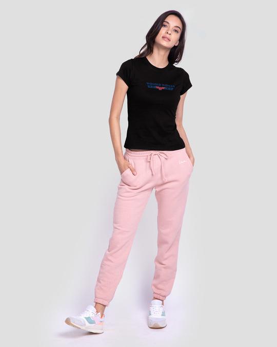 Shop WONDER WOMAN RETRO STRIPE Half Sleeve Printed T-Shirt Black (DCL)-Full