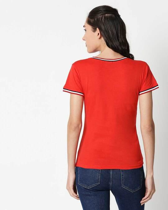 Shop Wonder Women Stripes Crewneck Varsity Rib T-Shirt (DCL) Multicolor-Back