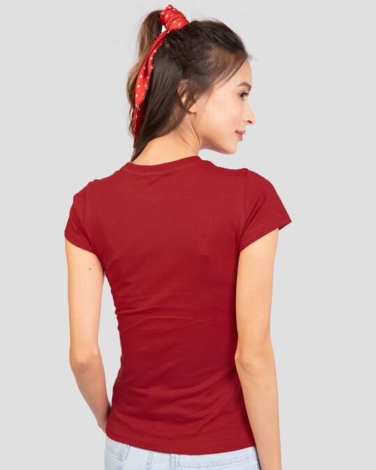 Shop Wonder Women Stripes Half Sleeve T-Shirt (DCL) Bold Red-Back