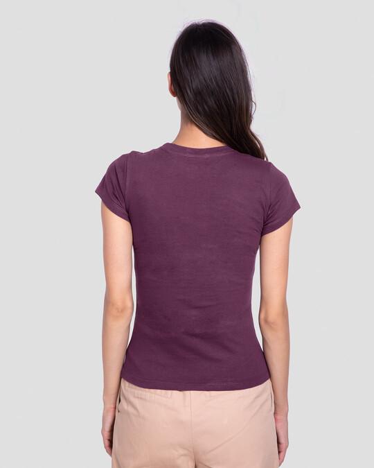 Shop Wonder Women Stripes Half Sleeve T-Shirt (DCL) Deep Purple-Back