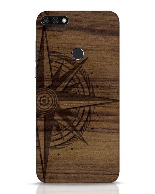 Shop Wood Compass Huawei Honor 7C Mobile Cover-Front