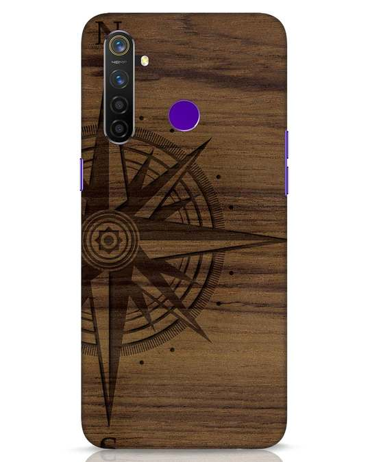Shop Wood Compass Realme 5 Pro Mobile Cover-Front