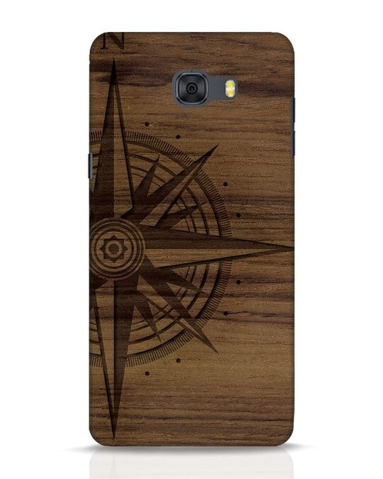 Shop Wood Compass Samsung Galaxy C9 Pro Mobile Cover-Front