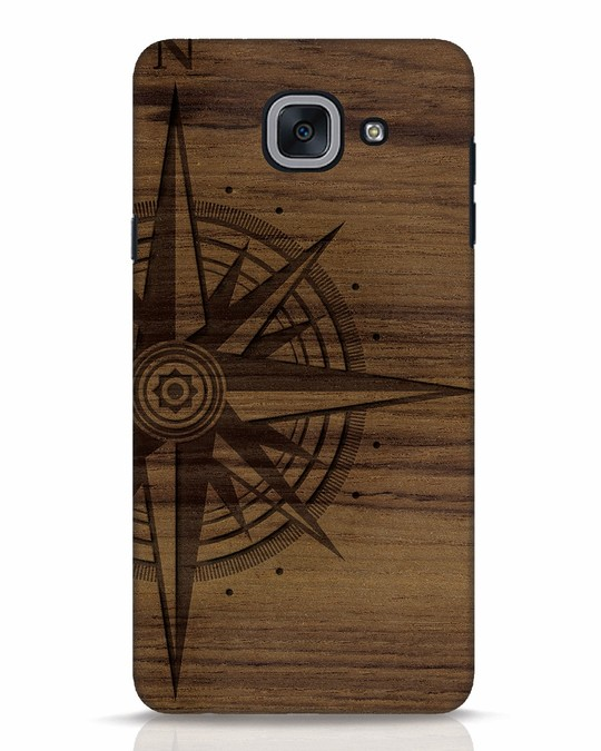 Shop Wood Compass Samsung Galaxy J7 Max Mobile Cover-Front