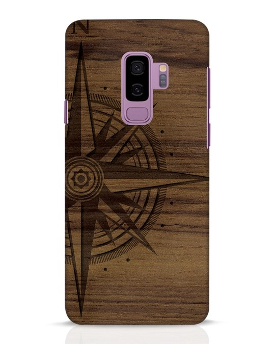 Shop Wood Compass Samsung Galaxy S9 Plus Mobile Cover-Front
