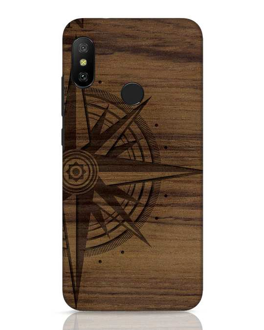 Shop Wood Compass Xiaomi Redmi 6 Pro Mobile Cover-Front