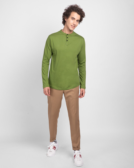 Shop Woodbine Green Full Sleeve Henley T-Shirt-Full