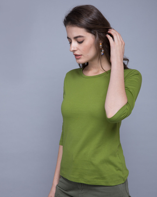 Shop Woodbine Green Round Neck 3/4th Sleeve T-Shirt-Back