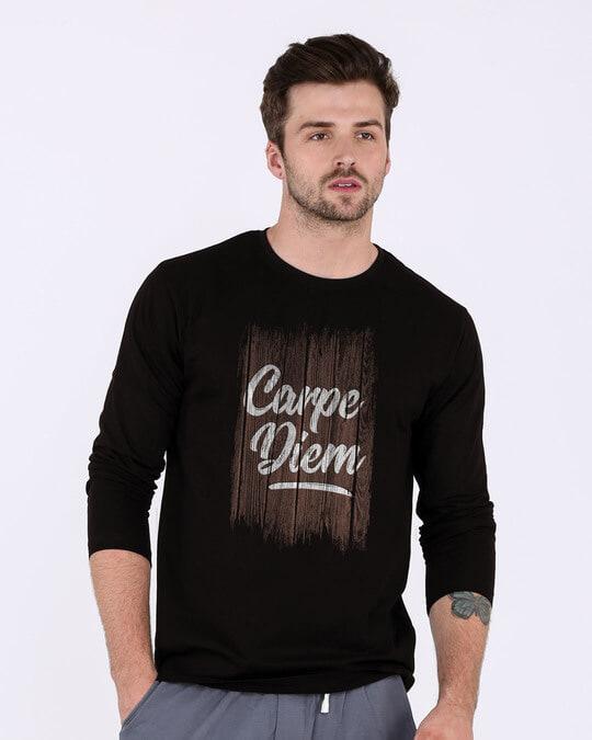 Shop Wooden Carpe Diem Full Sleeve T-Shirt-Front
