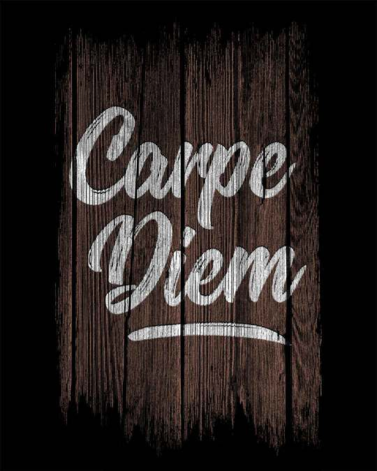 Shop Wooden Carpe Diem Round Neck 3/4th Sleeve T-Shirt