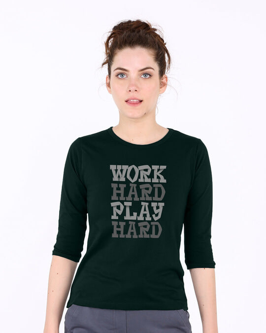 Shop Work And Play Round Neck 3/4th Sleeve T-Shirt-Front